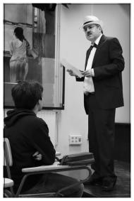 Ricardo Reis en el IES. Príncipe Felipe. Noviembre 2017. Fotografía de José Luis Pérez Fuente retocada.